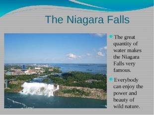 The great quantity of water makes the Niagara Falls very famous. Everybody ca