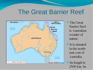 The Great Barrier Reef The Great Barrier Reef is Australian wonder of nature