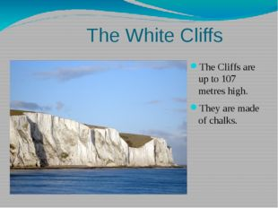 The White Cliffs The Cliffs are up to 107 metres high. They are made of chal
