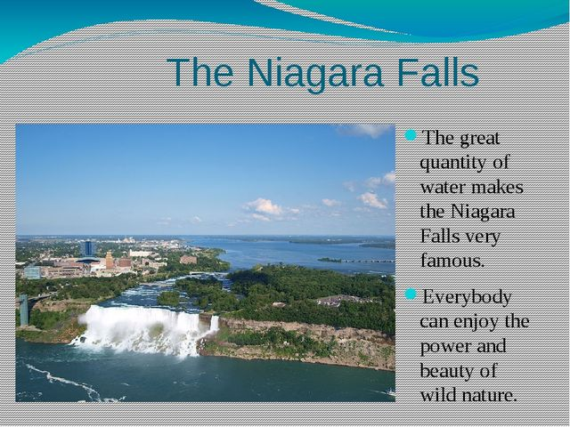 The great quantity of water makes the Niagara Falls very famous. Everybody ca...