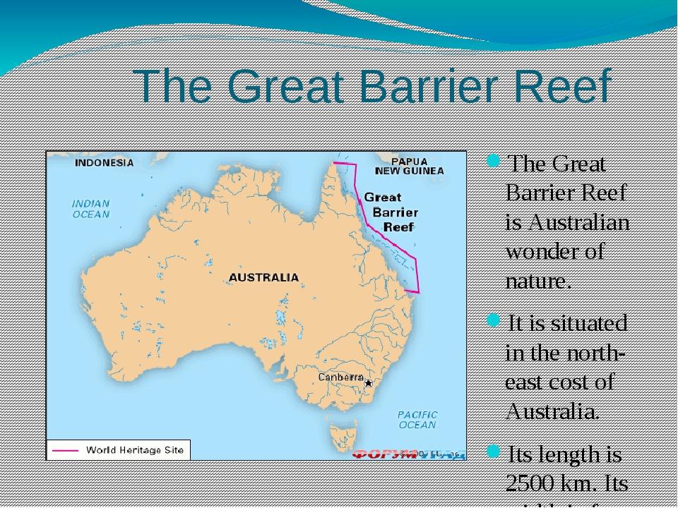 The Great Barrier Reef The Great Barrier Reef is Australian wonder of nature...