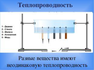 Теплопроводность Разные вещества имеют неодинаковую теплопроводность 