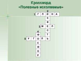 Кроссворд «Полезные ископаемые» 1 2 3 4 5 Г Л И Н А З В Е С Т Ь М Л Ф О С Ф О