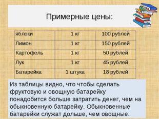 Примерные цены: Из таблицы видно, что чтобы сделать фруктовую и овощную бата