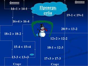Старт Старт финиш финиш 20-9 = 13-2 10-1 = 12-3 12+2 > 12-2 17+3 > 17-3 19-1