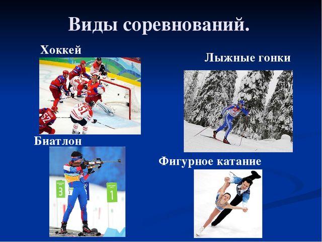 Виды соревнований. Хоккей Лыжные гонки Биатлон Фигурное катание