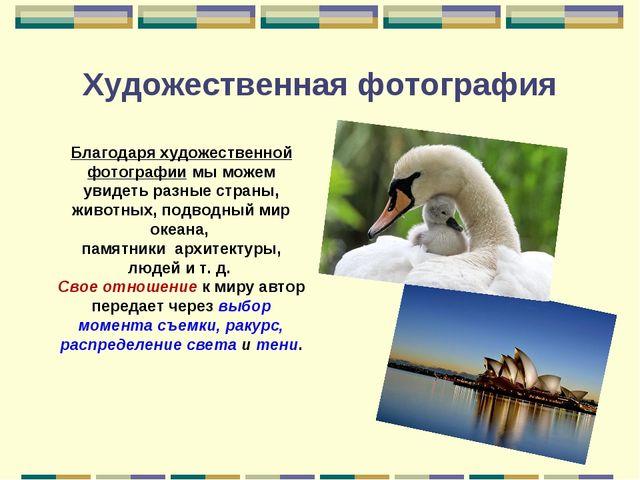 Художественная фотография Благодаря художественной фотографии мы можем увидет...