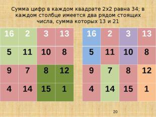 Сумма цифр в каждом квадрате 2х2 равна 34; в каждом столбце имеется два рядом