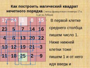 Как построить магический квадрат нечетного порядка ( метод французского геоме