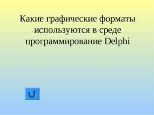 Какие графические форматы используются в среде программирование Delphi