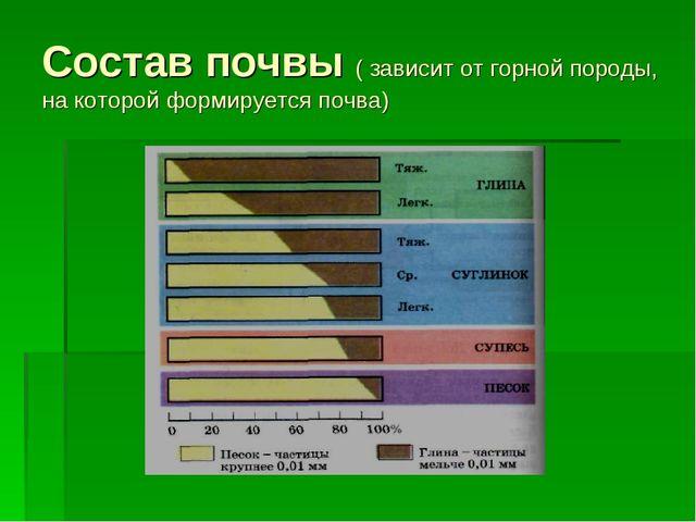 Состав почвы ( зависит от горной породы, на которой формируется почва)