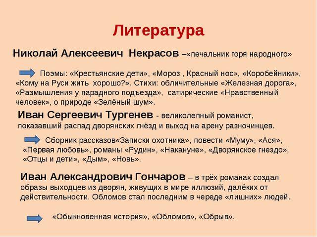 Литература Николай Алексеевич Некрасов –«печальник горя народного» Поэмы: «Кр...