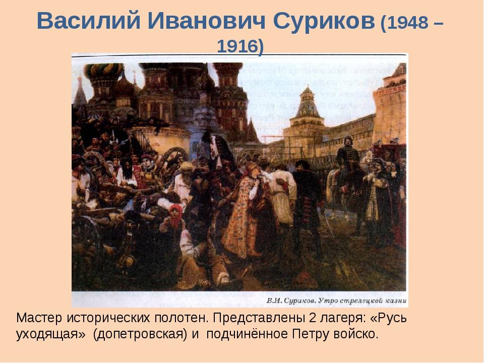 Василий Иванович Суриков (1948 – 1916) Мастер исторических полотен. Представл...