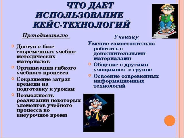 ЧТО ДАЕТ ИСПОЛЬЗОВАНИЕ КЕЙС-ТЕХНОЛОГИЙ Преподавателю Доступ к базе современн...