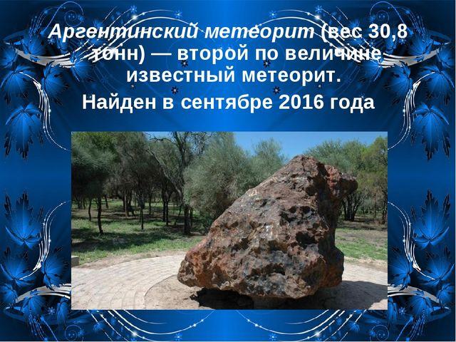 Аргентинский метеорит (вес 30,8 тонн) — второй по величине известный метеорит...