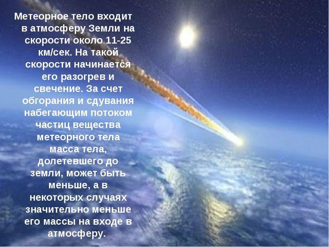 Метеорное тело входит в атмосферу Земли на скорости около 11-25 км/сек. На та...