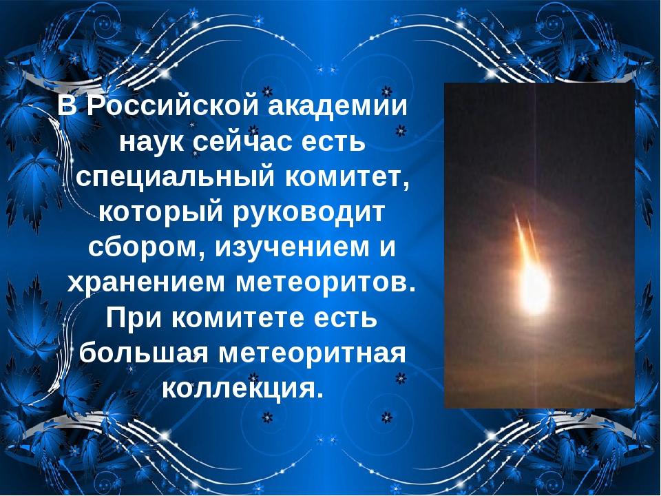В Российской академии наук сейчас есть специальный комитет, который руководит...