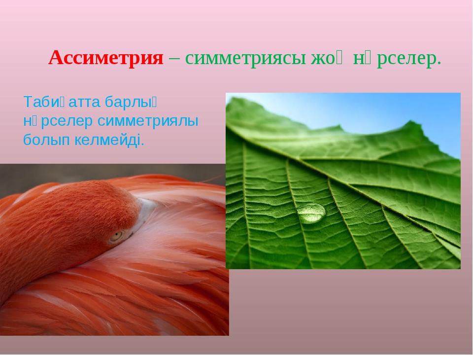 Ассиметрия – симметриясы жоқ нәрселер. Табиғатта барлық нәрселер симметриялы...