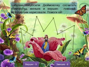 Бабочки попросили Дюймовочку сосчитать количество звеньев и вершин ломаной, к