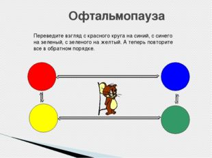 Офтальмопауза Переведите взгляд с красного круга на синий, с синего на зелены