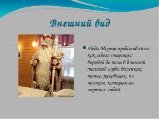 Внешний вид Деда Мороза представляли как седого старика с бородой до пола в д