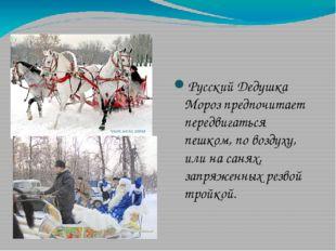 Русский Дедушка Мороз предпочитает передвигаться пешком, по воздуху, или на с