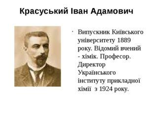 Красуський Іван Адамович Випускник Київського університету 1889 року. Відомий