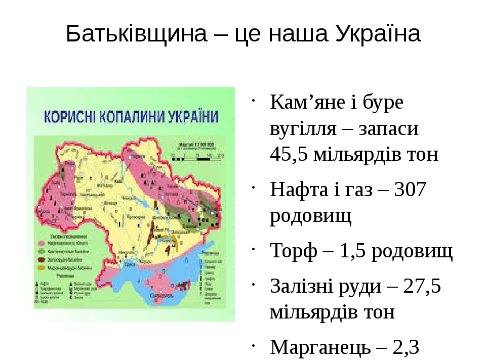 Батьківщина – це наша Україна Кам'яне і буре вугілля – запаси 45,5 мільярдів...