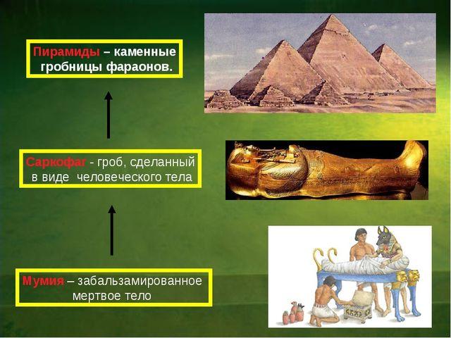 Пирамиды – каменные гробницы фараонов. Саркофаг - гроб, сделанный в виде чело...