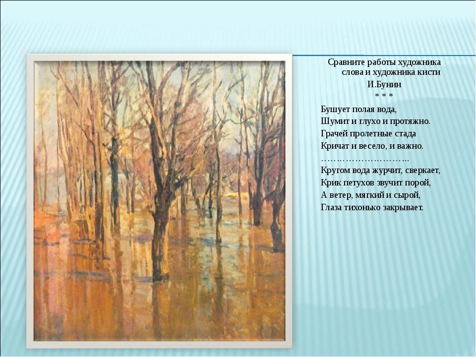 Сравните работы художника слова и художника кисти И.Бунин * * * Бушует полая...