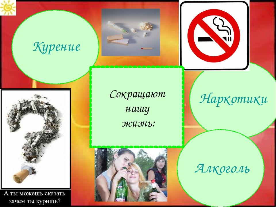 Курение Наркотики Алкоголь Сокращают нашу жизнь: