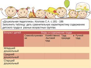 «Дошкольная педагогика», Козлова С.А. с.181 - 186 Заполнить таблицу: дать ср