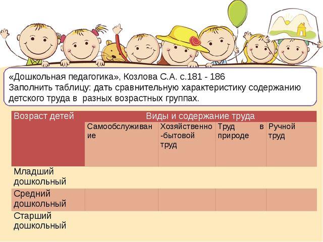 «Дошкольная педагогика», Козлова С.А. с.181 - 186 Заполнить таблицу: дать ср...