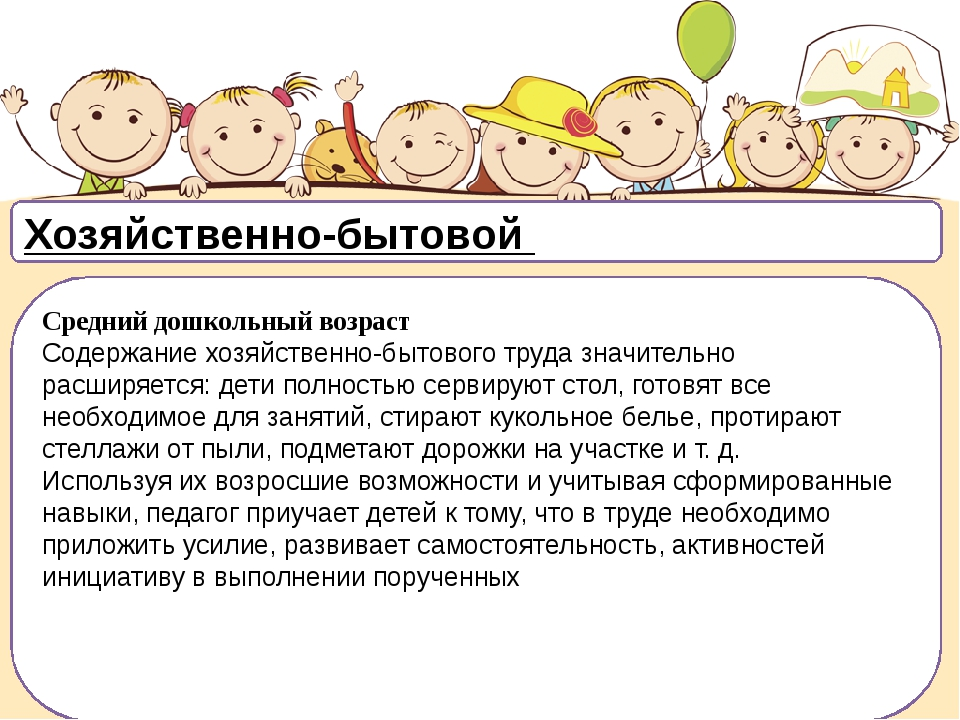 Хозяйственно-бытовой Средний дошкольный возраст Содержание хозяйственно-быто...