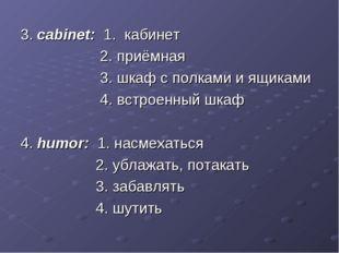 3. cabinet: 1. кабинет 2. приёмная 3. шкаф с полками и ящиками 4. встроенный