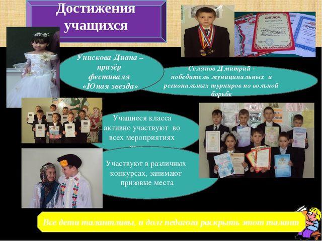 Достижения учащихся Все дети талантливы, и долг педагога раскрыть этот талант...