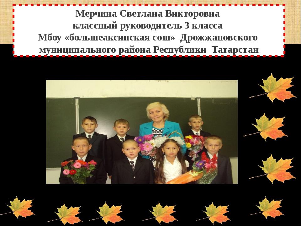 Мерчина Светлана Викторовна классный руководитель 3 класса Мбоу «большеаксинс...