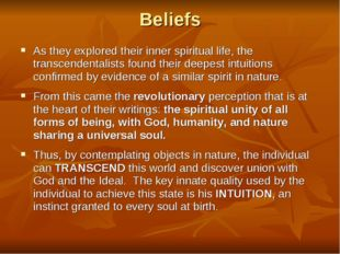 a comparison of the transcendentalist beliefs of the 1800s and modern beliefs The philosophy of transcendentalism essay the 1800's it was based on the belief that of the onetime transcendentalist beliefs of its.