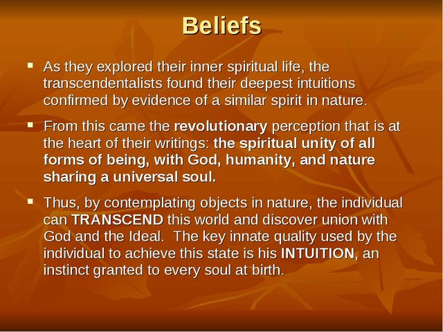 Beliefs As they explored their inner spiritual life, the transcendentalists f...