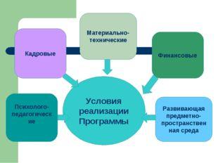 Условия реализации Программы Психолого-педагогические Развивающая предметно-п