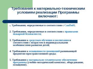 Требования к материально-техническим условиям реализации Программы включают:
