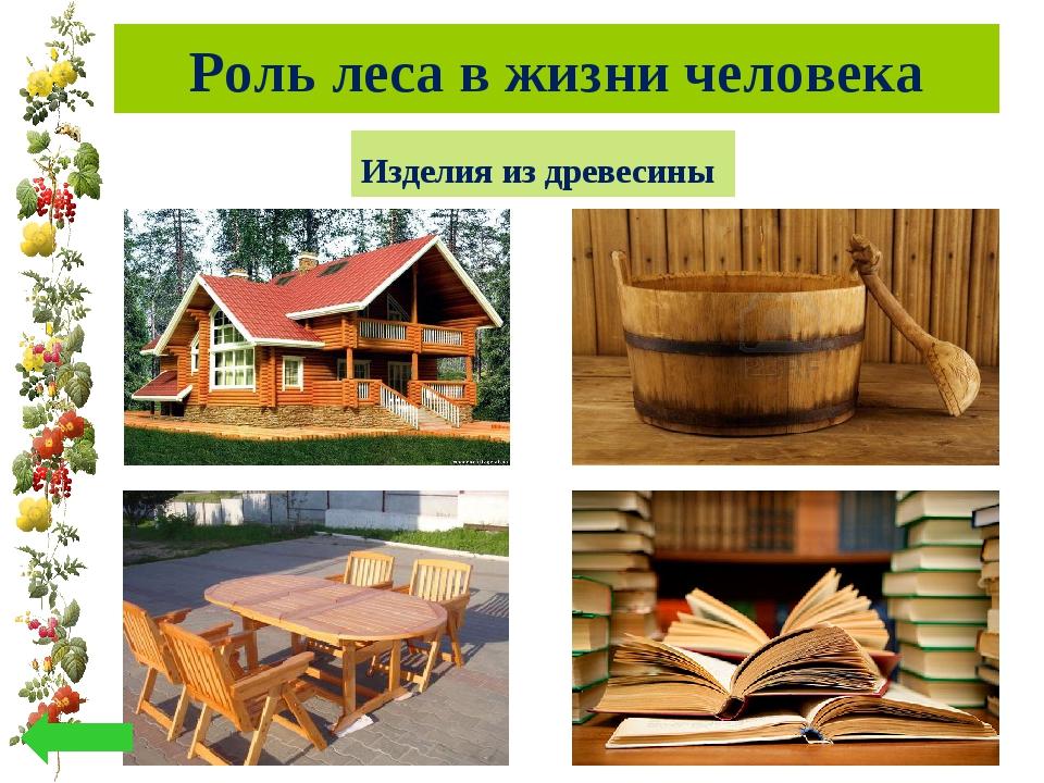 Роль леса в жизни человека Изделия из древесины