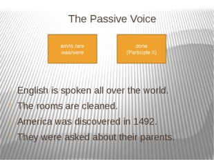 The Passive Voice     English is spoken all over the world. The rooms are cl