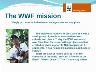 The WWF mission Simply put: we're in the business of saving our one and only