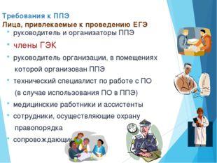 Требования к ППЭ Лица, привлекаемые к проведению ЕГЭ руководитель и организат