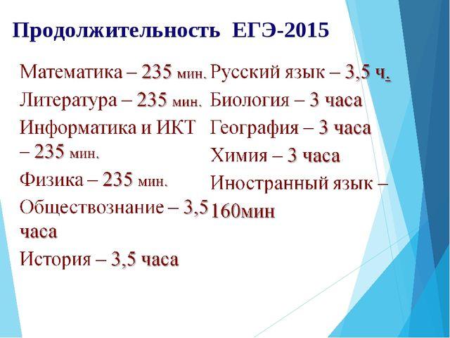 Продолжительность ЕГЭ-2015