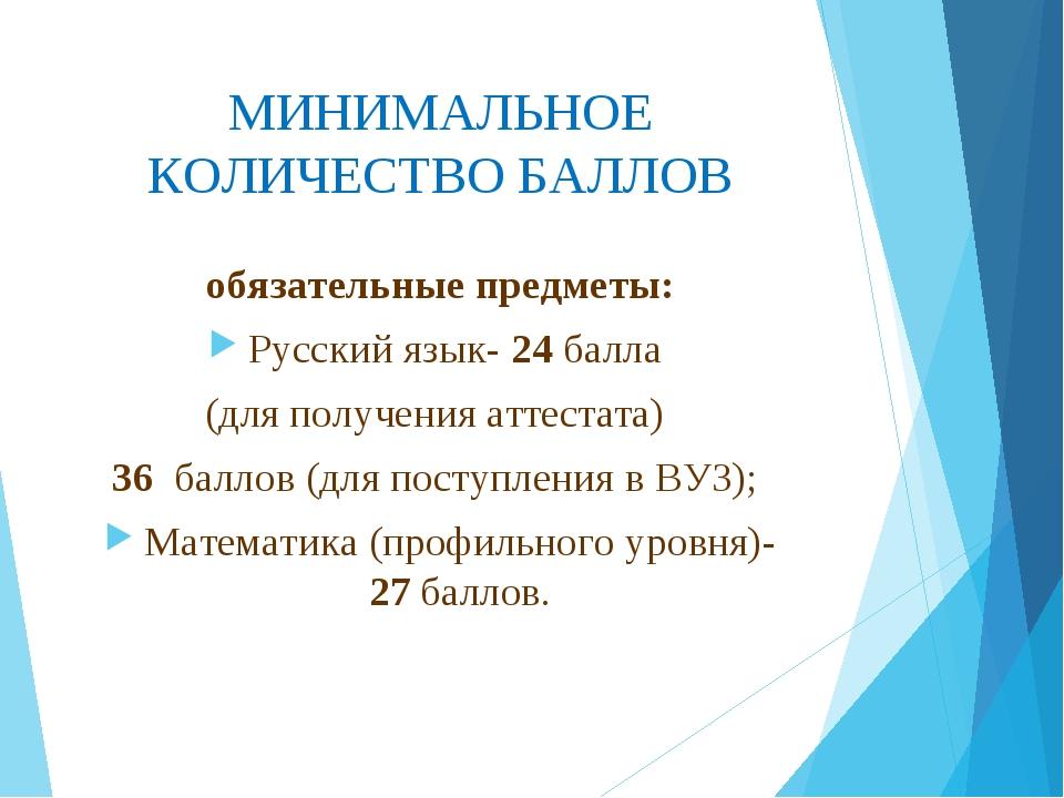 МИНИМАЛЬНОЕ КОЛИЧЕСТВО БАЛЛОВ обязательные предметы: Русский язык- 24 балла (...