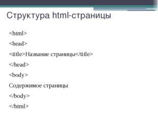 Структура html-страницы   Название страницы   Содержимое страницы