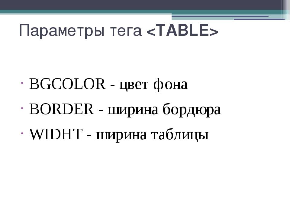 Параметры тега BGCOLOR- цвет фона BORDER- ширина бордюра WIDHT- ширина та...