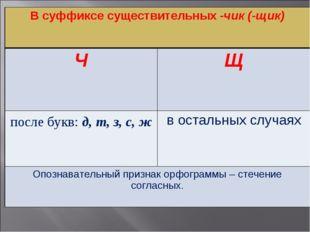 В суффиксе существительных -чик (-щик) ЧЩ после букв: д, т, з, с, жв остал